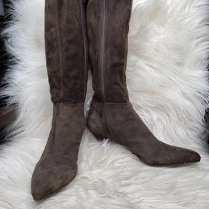 Auth PRADA Brown Suede Knee High Boots, Size 7
